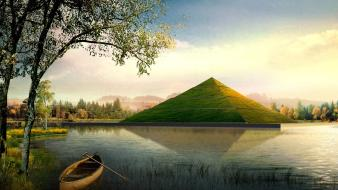 Nature grass digital art lakes canoe pyramids wallpaper