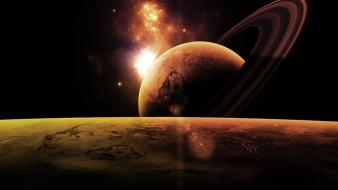Outer space planets saturn wallpaper