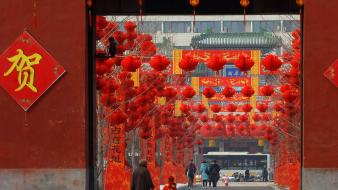 Red china lanterns beijing parks wallpaper