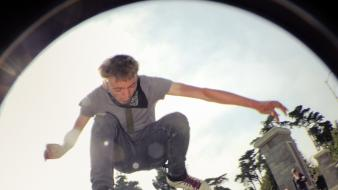 Skateboarding fisheye effect wallpaper