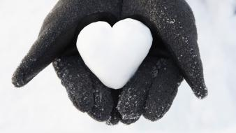Snow love hearts you wallpaper