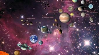 Solar system astronomy maps information russian Wallpaper