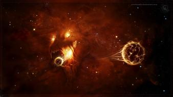 Space red worlds digital art airbrushed eater Wallpaper