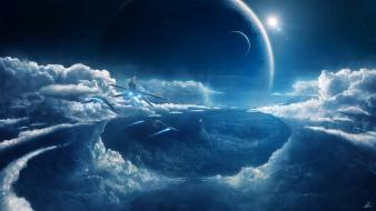 Stars flying planets moon nebulae prometheus spaceships wallpaper