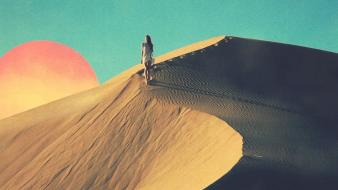 Sun sand walk desert wind tycho wallpaper