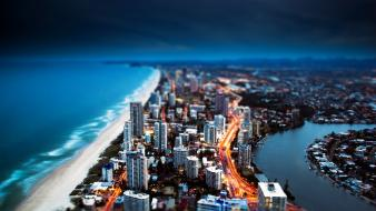 Tilt-shift cities sea wallpaper