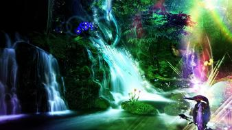 Abstract nature flowers forest hummingbirds waterfalls rivers foxes Wallpaper