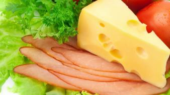 Cheese bacon salad slices wallpaper