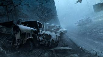 Death cars silent hill destroyed apocalyptic game wallpaper