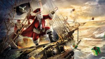 Fantasy art santa claus gifts canon sea wallpaper