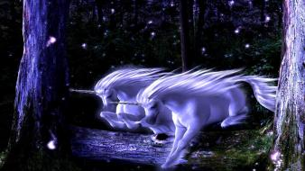 Forest unicorns fantasy art wallpaper