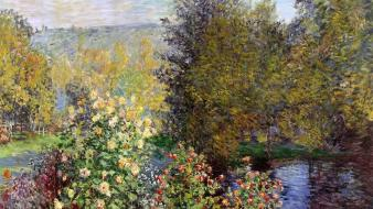 French traditional art bushes claude monet impressionism wallpaper