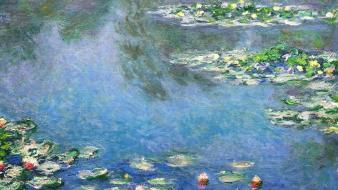 French traditional art reflections claude monet impressionism wallpaper