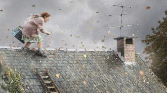 Funny antenna house old woman roof autumn wallpaper