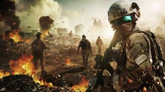 Games weapons battles ghost recon ruined city Wallpaper