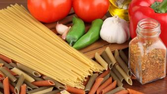 Garlic tomatoes spaghetti spices wallpaper