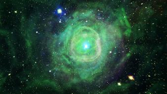 Green outer space stars explosions nebulae Wallpaper