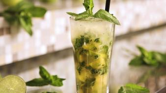 Ice glass cocktail mint drinks mojito wallpaper