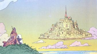 Island traditional art moebius cities french artist wallpaper