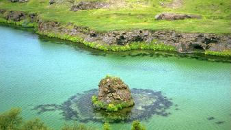 Landscapes grass islands iceland lakes wallpaper