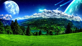 Landscapes outer space moon grass skyscapes wallpaper