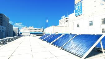 Mirrors edge solar panels wallpaper