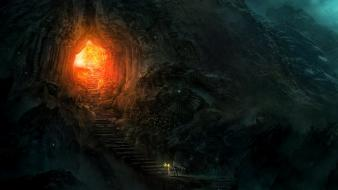 Mountains cave fantasy art wallpaper