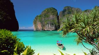 Nature paradise boats thailand wallpaper