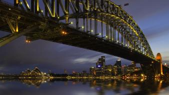 Night bridges australia sydney harbour bridge wallpaper