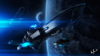 Outer space spaceships art Wallpaper