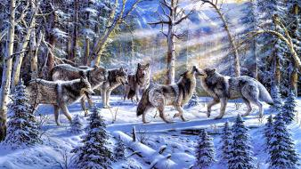 Paintings animals wolves wallpaper