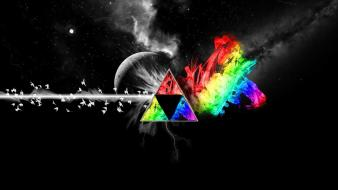 Pink floyd multicolor selective coloring space art triangles Wallpaper