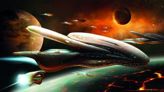 Planets lava endless spaceships science fiction game wallpaper