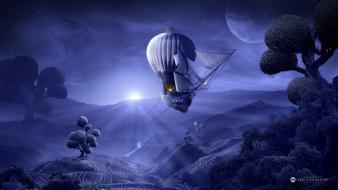 Purple fantasy art digital desktopography moonrise wallpaper