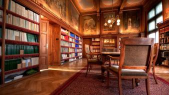 Room library books interior carpet chairs chandelier wallpaper
