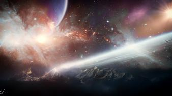 Space stars planets digital art science fiction Wallpaper