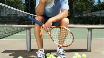 Sports men balls tennis athletes court frustrated wallpaper