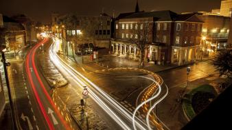 Streets night urban buildings roads long exposure wallpaper