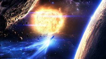 Sun outer space stars planets spaceships wallpaper