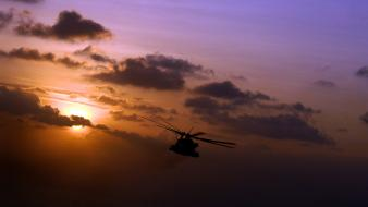 Sunset military helicopters wallpaper