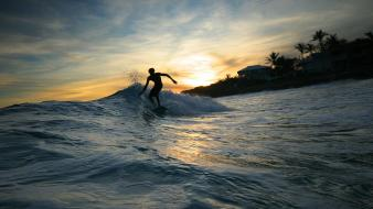 Sunset waves sports surfing holidays sea wallpaper