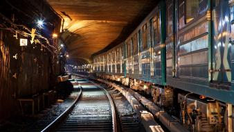 Trains metro underground tunnels railroad tracks moscow russian Wallpaper