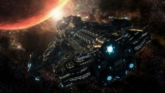 Video games starcraft pc spaceships science fiction ii wallpaper