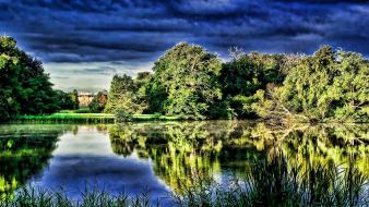 Water nature trees ponds wallpaper