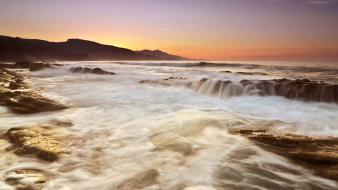 Water sunset nature coast beach waves wallpaper
