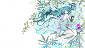 White flowers hatsune miku long hair barefoot wallpaper
