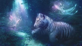 White tiger deviantart fantasy art digital blurred wallpaper