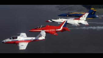Widescreen stunt flying snowbirds thunderbirds royal knights wallpaper