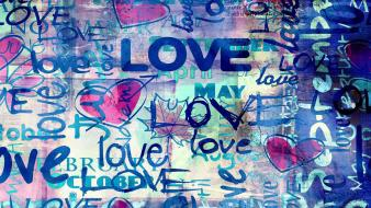 Abstract love multicolor quotes colorful dot words wallpaper