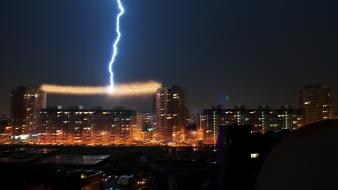 Buildings lightning cities wallpaper